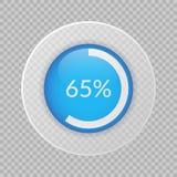 un diagramma a torta di 65 per cento su fondo trasparente Vecto di percentuale Fotografia Stock Libera da Diritti