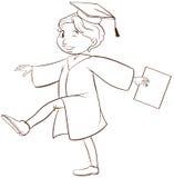 Un dibujo de una graduación de la persona Imagen de archivo libre de regalías