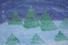Un dibujo del ` s del niño La noche del forestGouache conífero del invierno Fotografía de archivo libre de regalías