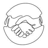 Un dibujo lineal del icono del apretón de manos en círculo ilustración del vector