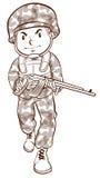 Un dibujo simple de un soldado Imágenes de archivo libres de regalías