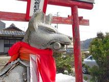 Un dieu de Fox, Kinomotojizo-dans le temple, Nagahama, Japon Image stock