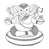 Un dieu de Ganesha de succès et d'art, dessin d'éléphant, vecteur Photos libres de droits