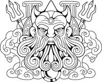 Un dieu Poseidon, seigneur du grec ancien des mers Photos stock