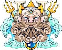 Un dieu Poseidon, seigneur du grec ancien des mers Image stock