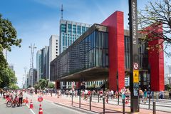 Un dimanche typique à l'avenue de Paulista Image libre de droits