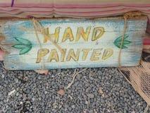 Un dipinto a mano firma dentro Ibiza Fotografia Stock Libera da Diritti
