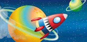 Un dirigeable près des planètes illustration stock