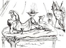un dirigeant romain dans une tente pendant une coupure dans la bataille illustration de vecteur