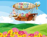 Un dirigibile che galleggia sopra le colline con i fiori Fotografia Stock
