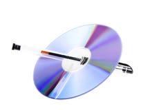 Un disco vuoto con la penna Fotografia Stock Libera da Diritti