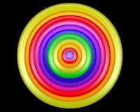 Un diseño abstracto colorido brillante de círculos en un fondo negro Fotos de archivo libres de regalías
