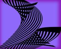 Un diseño abstracto de negro curvó líneas en un fondo púrpura Fotos de archivo libres de regalías