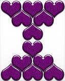 Un diseño de corazones púrpuras en un fondo blanco Imagenes de archivo