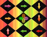 Un diseño gráfico colorido de flechas que señalan el uno al otro Fotos de archivo libres de regalías