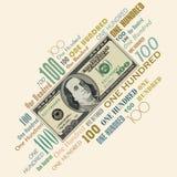 Un diseño tipográfico de 100 billetes de dólar Fotografía de archivo libre de regalías