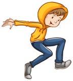 Un disegno di un ballerino con un rivestimento arancio Immagini Stock