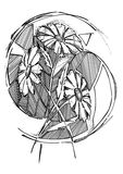 Un disegno stilizzato delle margherite Immagini Stock