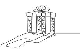 Un disegno a tratteggio continuo dare un regalo Illustrazione di vettore royalty illustrazione gratis
