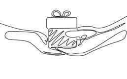 Un disegno a tratteggio continuo dare un regalo Vettore illustrazione vettoriale