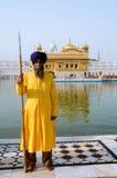 Un dispositif protecteur sikh au temple d'or Images libres de droits