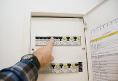 Un dispositivo residuo-corrente RCD, o l'interruttore residuo-corrente RCCB, è un dispositivo quello fotografie stock libere da diritti