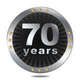 Un distintivo di 70 anniversari - colore d'argento Fotografia Stock Libera da Diritti