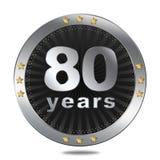 Un distintivo di 80 anniversari - colore d'argento Fotografia Stock
