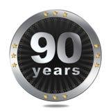 Un distintivo di 90 anniversari - colore d'argento Fotografia Stock