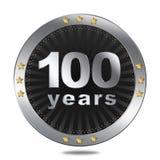 Un distintivo di 100 anniversari - colore d'argento Fotografia Stock Libera da Diritti