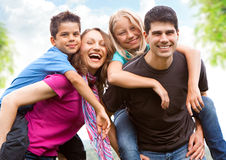 un divertimento delle 6 famiglie Fotografie Stock
