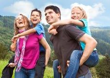 un divertimento delle 9 famiglie Fotografie Stock Libere da Diritti