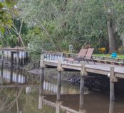 Un dock comté sur de Tolomato rivière, St Johns, la Floride, Etats-Unis photos libres de droits