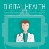Un docteur avec le stéthoscope La bannière de santé de Digital a placé avec des éléments de médecine sur un fond bleu Illustratio illustration de vecteur