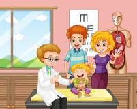 Un doctor Giving Kid Vaccine ilustración del vector