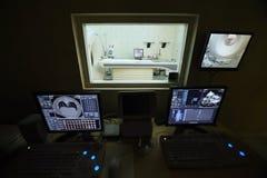Un doctor veterinario con el control informático de MRI Foto de archivo libre de regalías