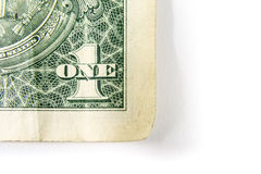 Un dollar Bill Detail Closeup White Background Currenc Image stock