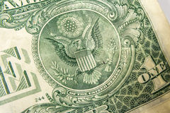 Un dollar Bill Detail Closeup White Background Currenc Images stock