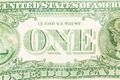 Un dollar Bill Detail Closeup White Background Currenc Photo stock