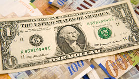 Un dollar et shekels Photos libres de droits