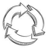 Un Doodle di tre frecce circolari Fotografia Stock Libera da Diritti