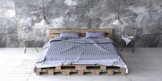 Un dormitorio del estilo del desván con la cama reciclada de la plataforma 3d rinden Fotos de archivo