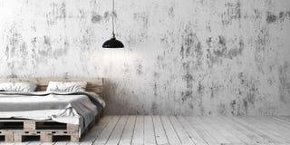 Un dormitorio industrial del estilo con la cama reciclada de la plataforma 3d rinden Imagen de archivo