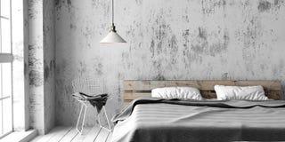Un dormitorio industrial del estilo con la cama reciclada de la plataforma 3d rinden stock de ilustración