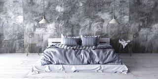 Un dormitorio industrial del estilo con la cama reciclada de la plataforma 3d rinden Imagen de archivo libre de regalías