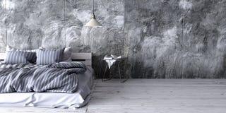 Un dormitorio industrial del estilo con la cama reciclada de la plataforma 3d rinden Fotografía de archivo