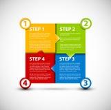 Un dos tres cuatro - pasos de progresión de papel del vector stock de ilustración