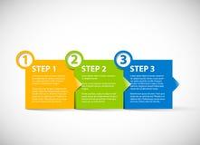 Un dos tres - pasos de progresión de papel del vector stock de ilustración