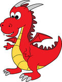 Un dragón feliz de la historieta roja linda Foto de archivo libre de regalías