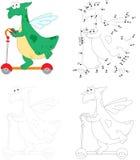 Un dragón verde feliz que monta una vespa del retroceso Punto para puntear la educación libre illustration